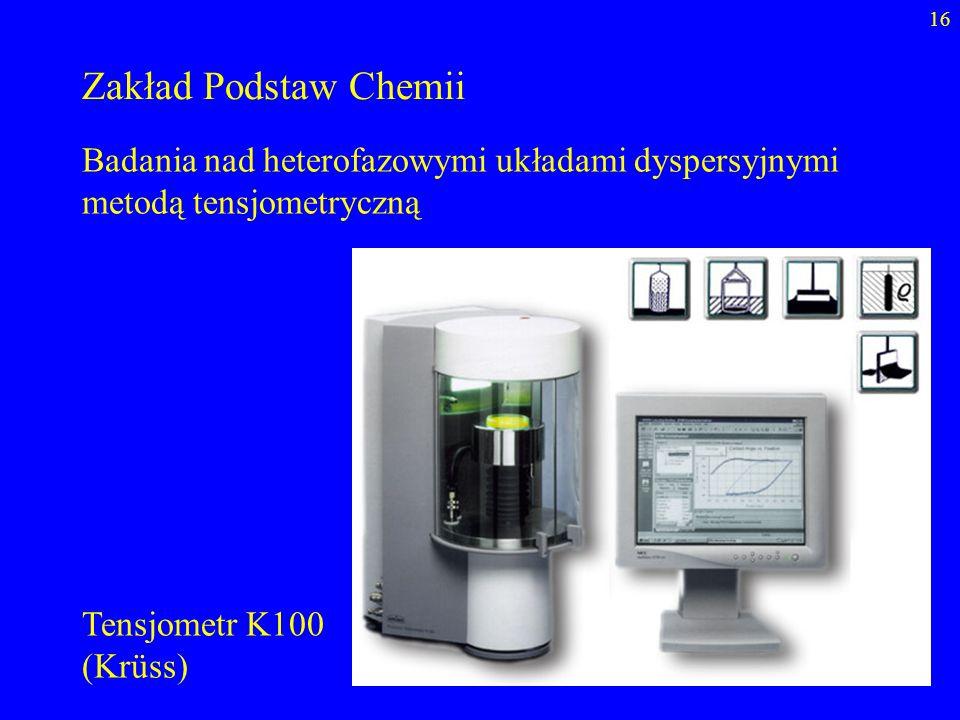 Zakład Podstaw Chemii Badania nad heterofazowymi układami dyspersyjnymi metodą tensjometryczną. Tensjometr K100.