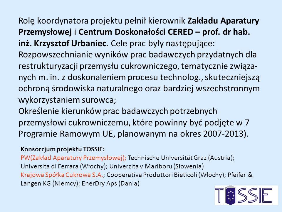 Rolę koordynatora projektu pełnił kierownik Zakładu Aparatury Przemysłowej i Centrum Doskonałości CERED – prof. dr hab. inż. Krzysztof Urbaniec. Cele prac były następujące: