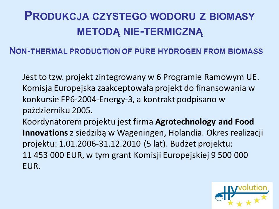 Produkcja czystego wodoru z biomasy metodą nie-termiczną
