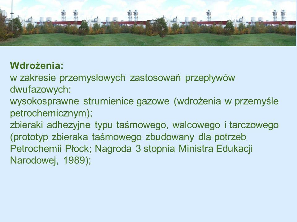 Wdrożenia: w zakresie przemysłowych zastosowań przepływów dwufazowych: wysokosprawne strumienice gazowe (wdrożenia w przemyśle petrochemicznym);