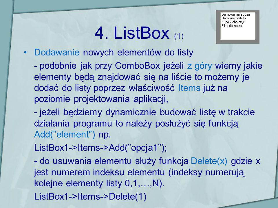 4. ListBox (1) Dodawanie nowych elementów do listy