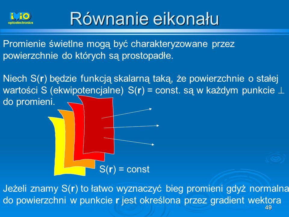 Równanie eikonałuoptoelectronics. Promienie świetlne mogą być charakteryzowane przez powierzchnie do których są prostopadłe.