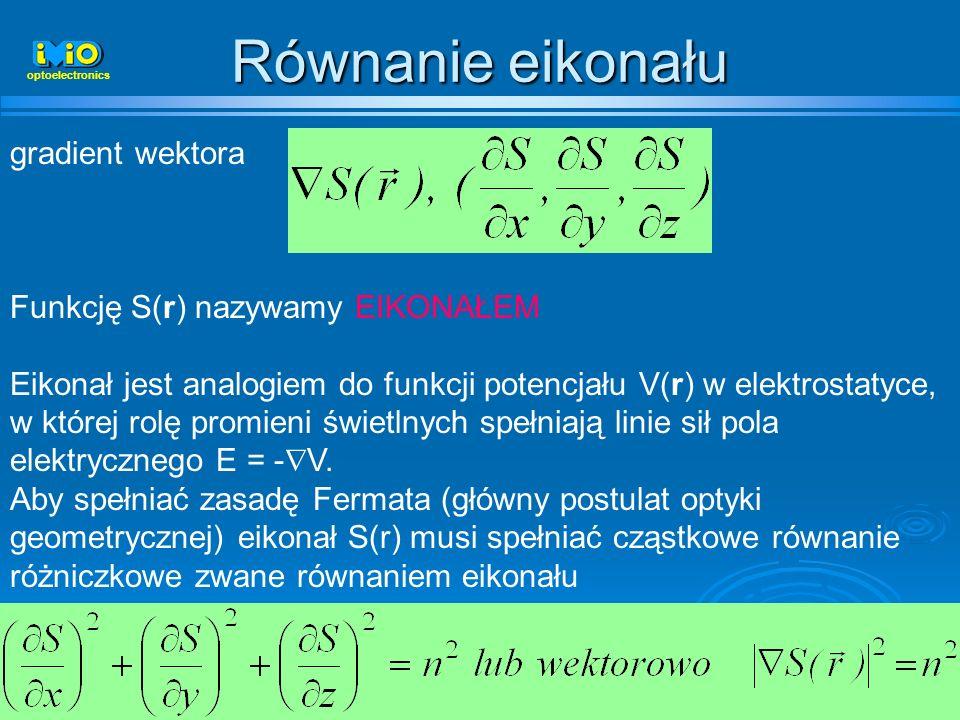 Równanie eikonału gradient wektora Funkcję S(r) nazywamy EIKONAŁEM