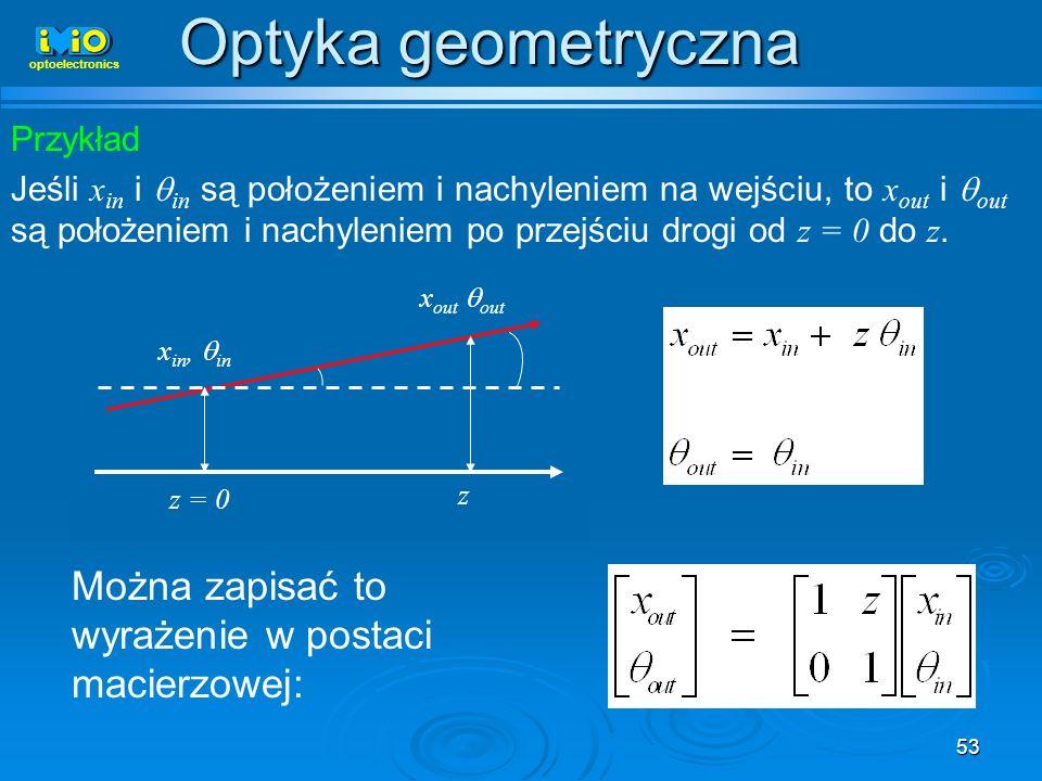 Optyka geometryczna Można zapisać to wyrażenie w postaci macierzowej: