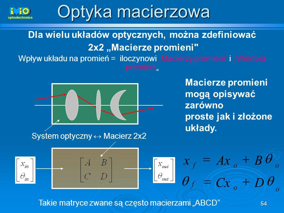 Dla wielu układów optycznych, można zdefiniować