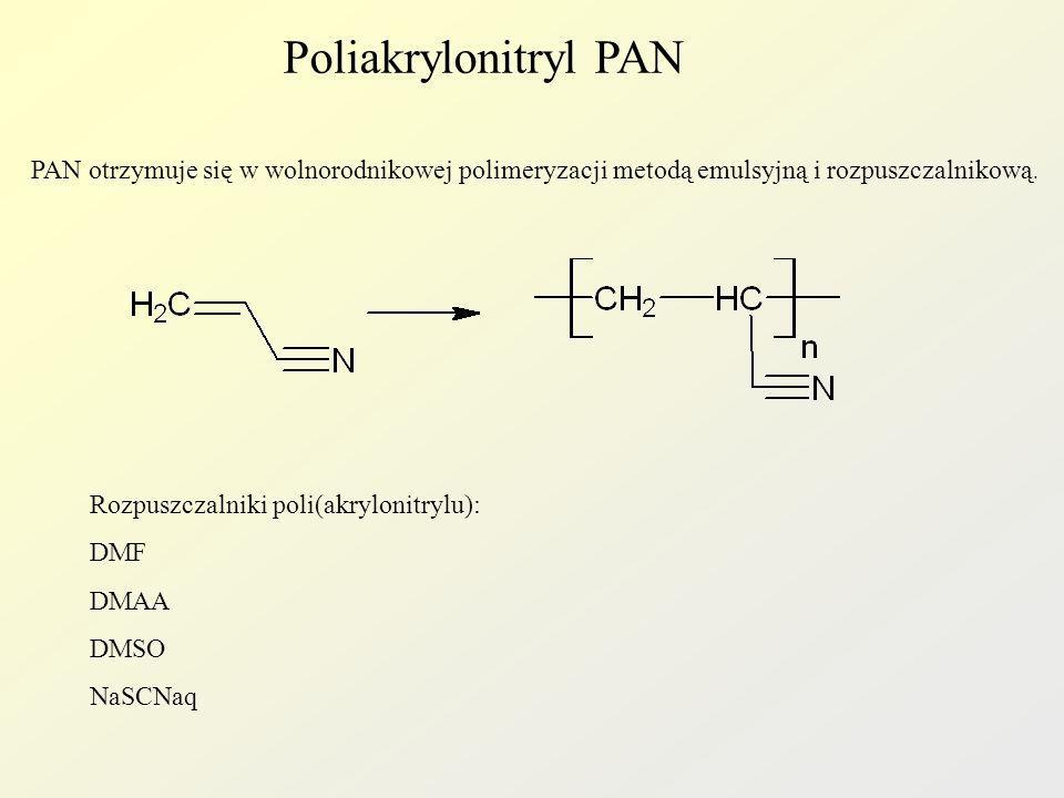 Poliakrylonitryl PAN PAN otrzymuje się w wolnorodnikowej polimeryzacji metodą emulsyjną i rozpuszczalnikową.