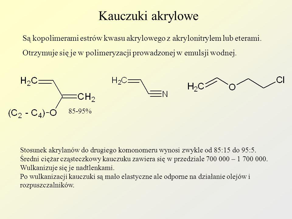 Kauczuki akrylowe Są kopolimerami estrów kwasu akrylowego z akrylonitrylem lub eterami.