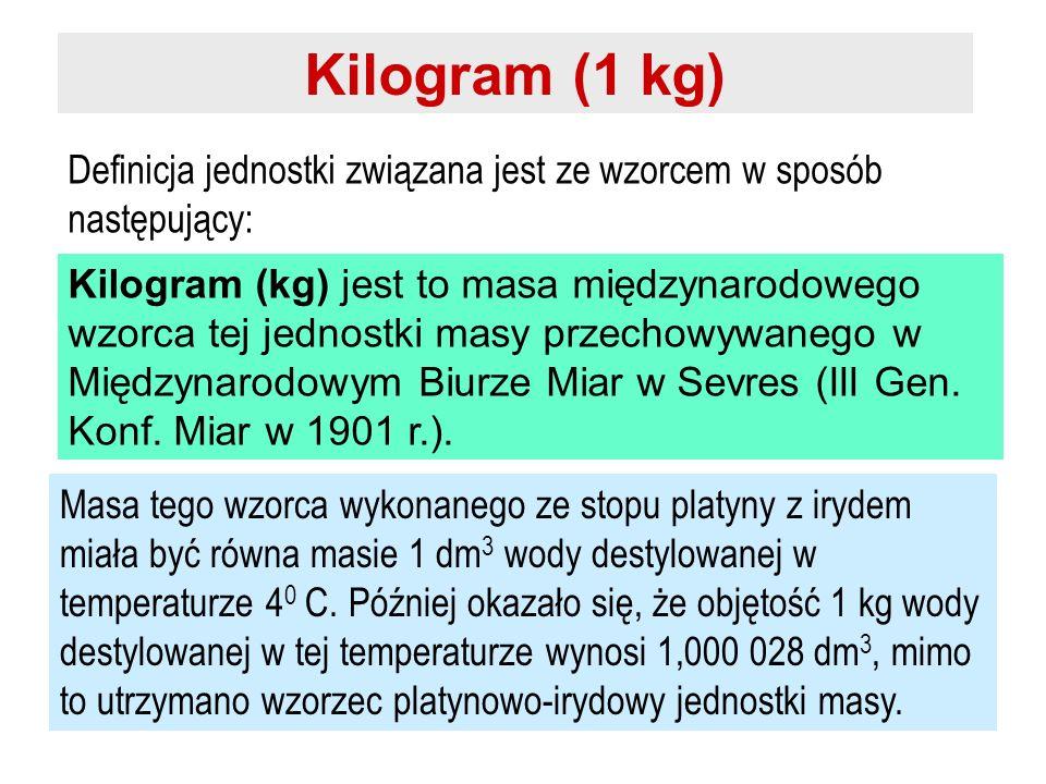 Kilogram (1 kg) Definicja jednostki związana jest ze wzorcem w sposób następujący: