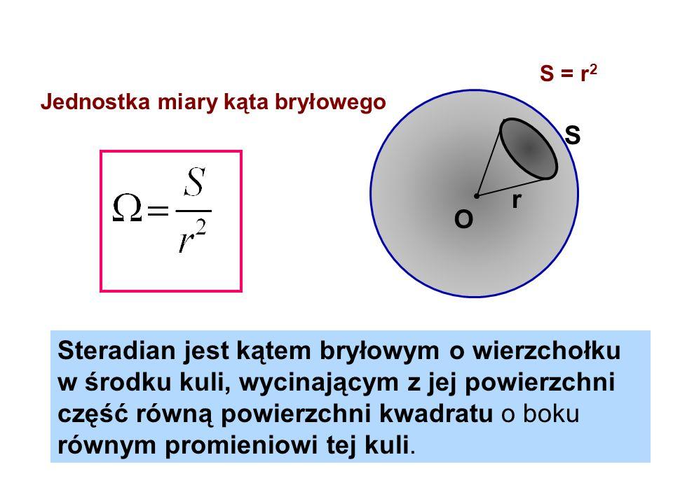 S = r2 Jednostka miary kąta bryłowego. S. r. O.