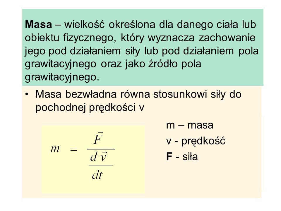 Masa – wielkość określona dla danego ciała lub obiektu fizycznego, który wyznacza zachowanie jego pod działaniem siły lub pod działaniem pola grawitacyjnego oraz jako źródło pola grawitacyjnego.