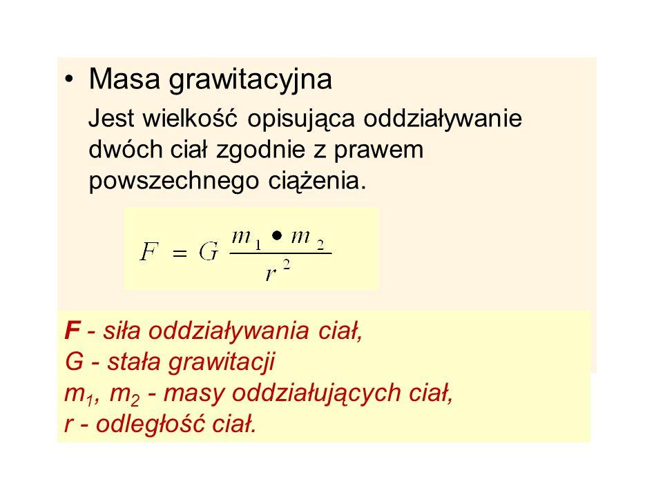 Masa grawitacyjna F - siła oddziaływania ciał, G - stała grawitacji
