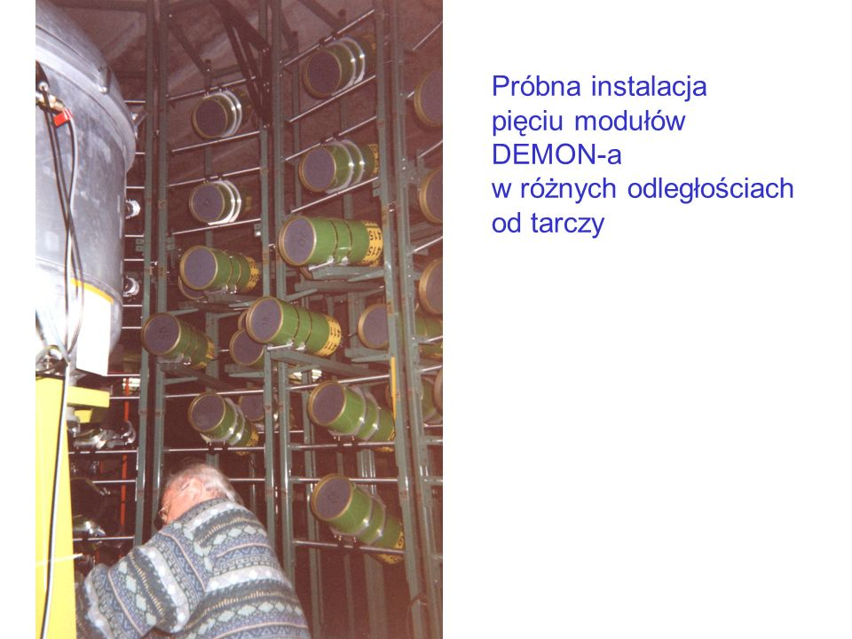 Próbna instalacja pięciu modułów DEMON-a w różnych odległościach od tarczy