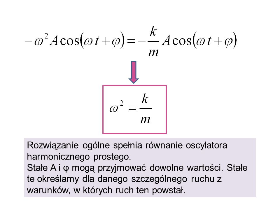 Rozwiązanie ogólne spełnia równanie oscylatora harmonicznego prostego.
