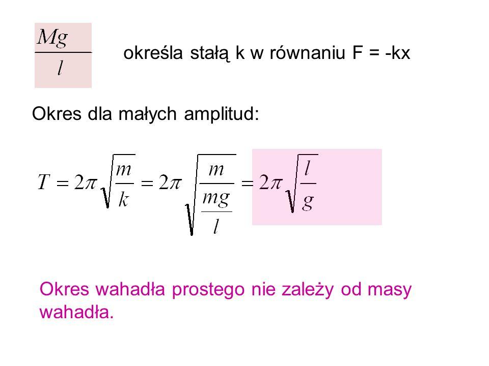 określa stałą k w równaniu F = -kx