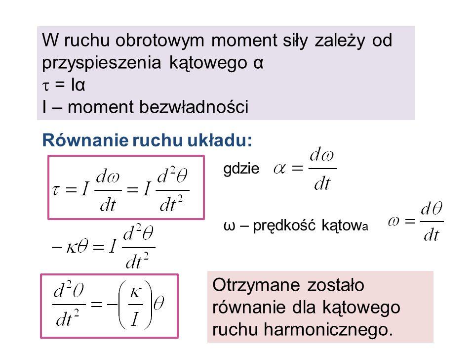 W ruchu obrotowym moment siły zależy od przyspieszenia kątowego α = Iα