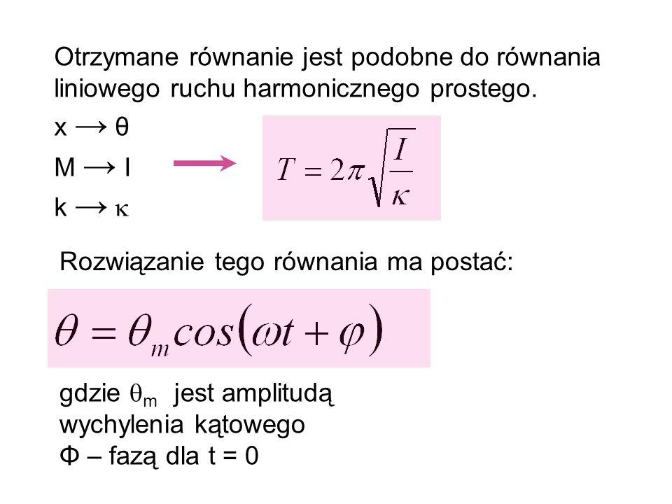 Otrzymane równanie jest podobne do równania liniowego ruchu harmonicznego prostego.