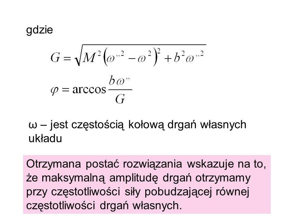 gdzie ω – jest częstością kołową drgań własnych układu.