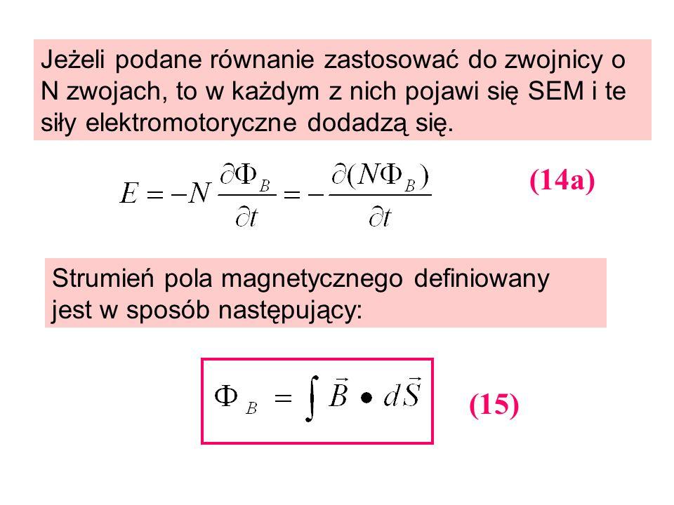 Jeżeli podane równanie zastosować do zwojnicy o N zwojach, to w każdym z nich pojawi się SEM i te siły elektromotoryczne dodadzą się.