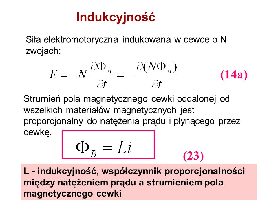 Indukcyjność Siła elektromotoryczna indukowana w cewce o N zwojach: (14a)