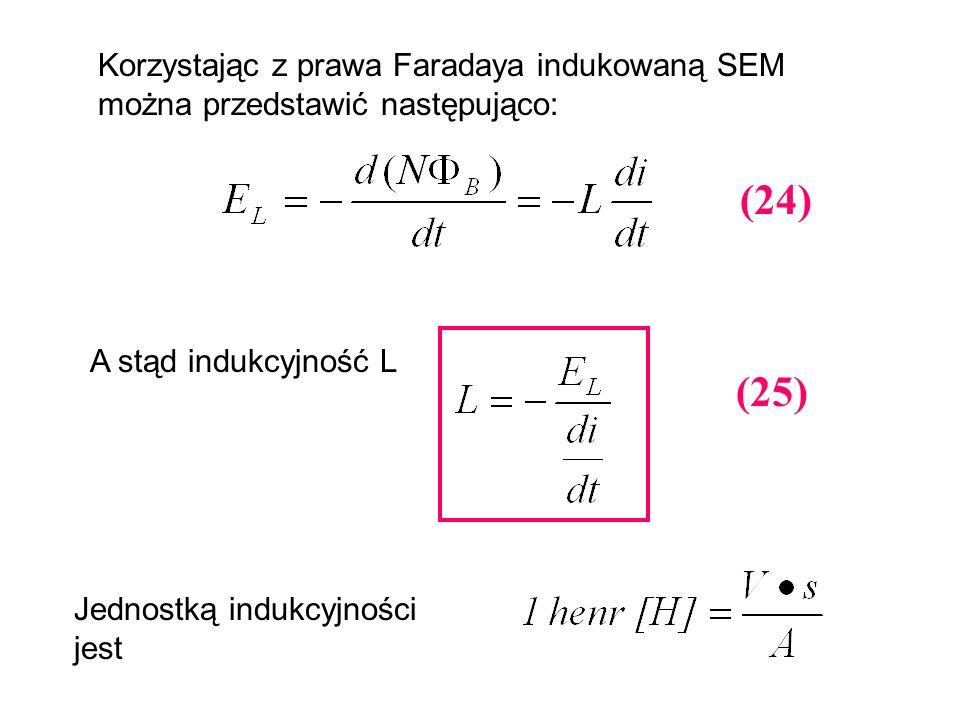 Korzystając z prawa Faradaya indukowaną SEM można przedstawić następująco:
