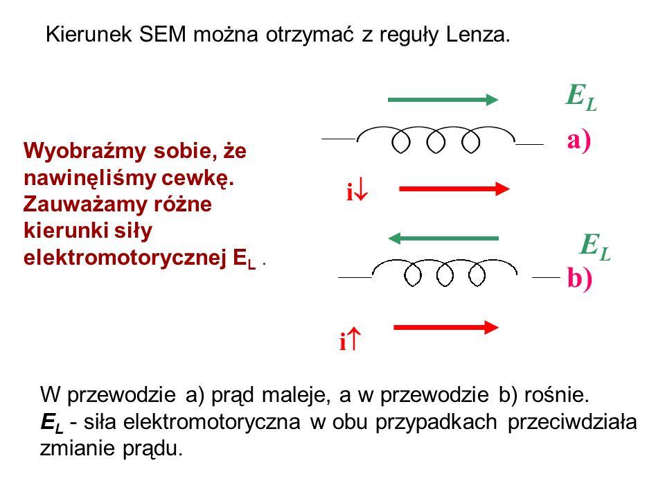 EL a) EL b) i i Kierunek SEM można otrzymać z reguły Lenza.