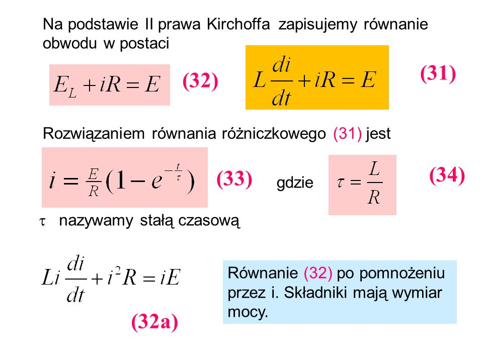 Na podstawie II prawa Kirchoffa zapisujemy równanie obwodu w postaci