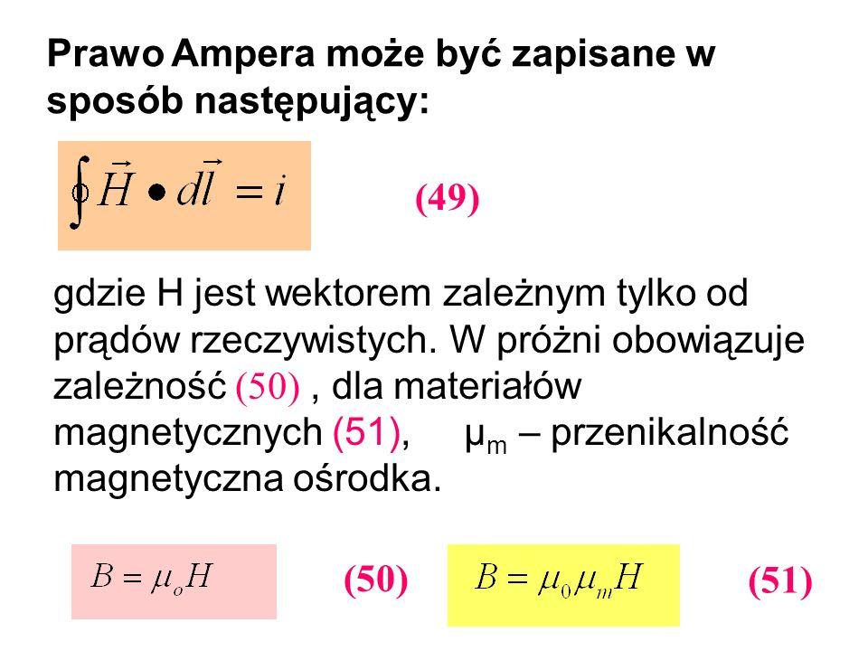 Prawo Ampera może być zapisane w sposób następujący:
