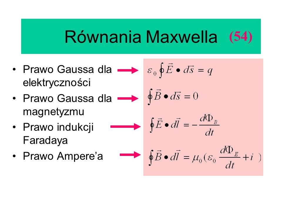 Równania Maxwella (54) Prawo Gaussa dla elektryczności