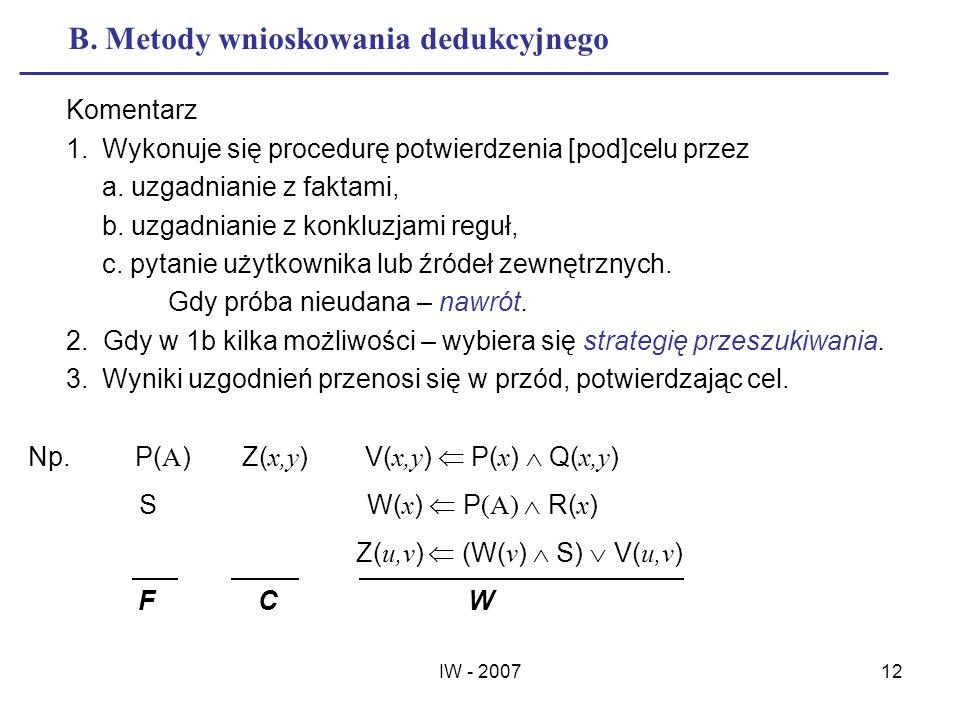 B. Metody wnioskowania dedukcyjnego