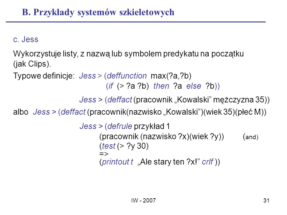 B. Przykłady systemów szkieletowych