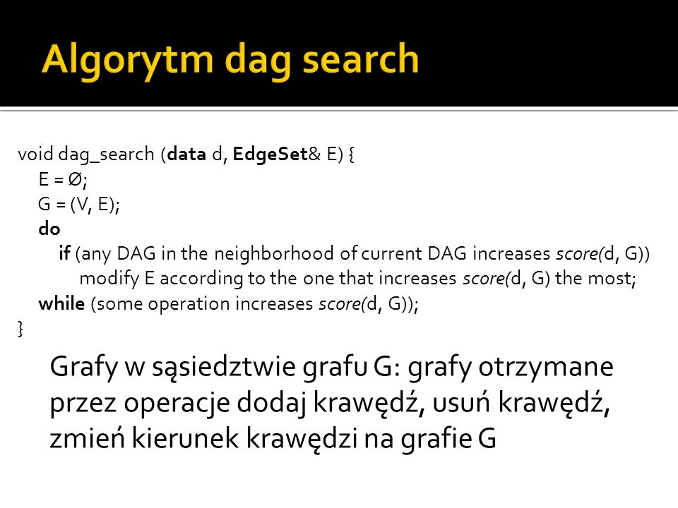 Algorytm dag search void dag_search (data d, EdgeSet& E) { E = Ø; G = (V, E); do.