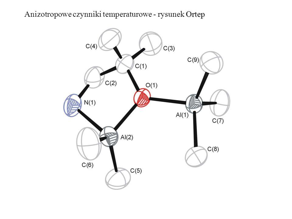 Anizotropowe czynniki temperaturowe - rysunek Ortep