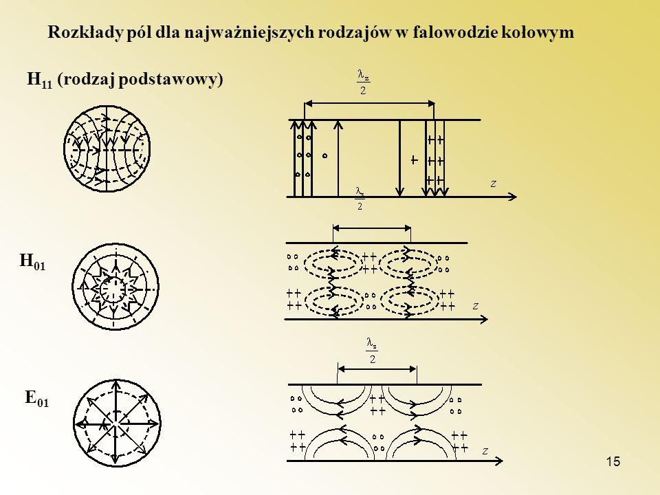 Rozkłady pól dla najważniejszych rodzajów w falowodzie kołowym