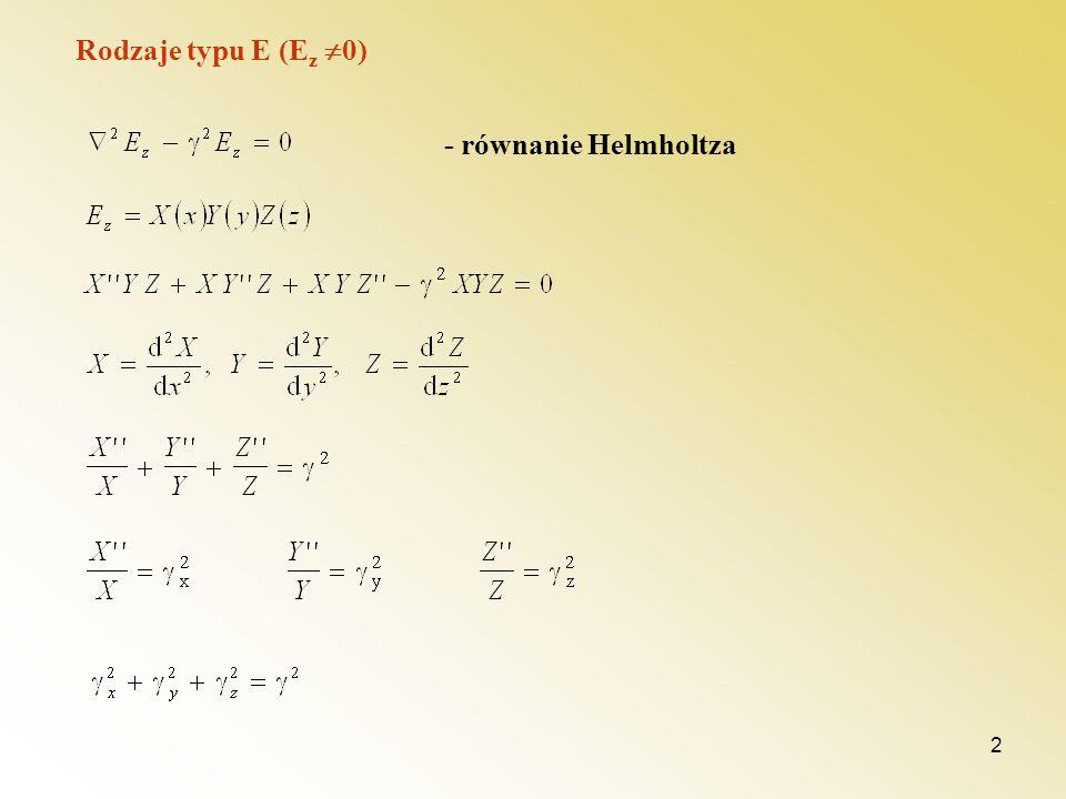 Rodzaje typu E (Ez 0) - równanie Helmholtza