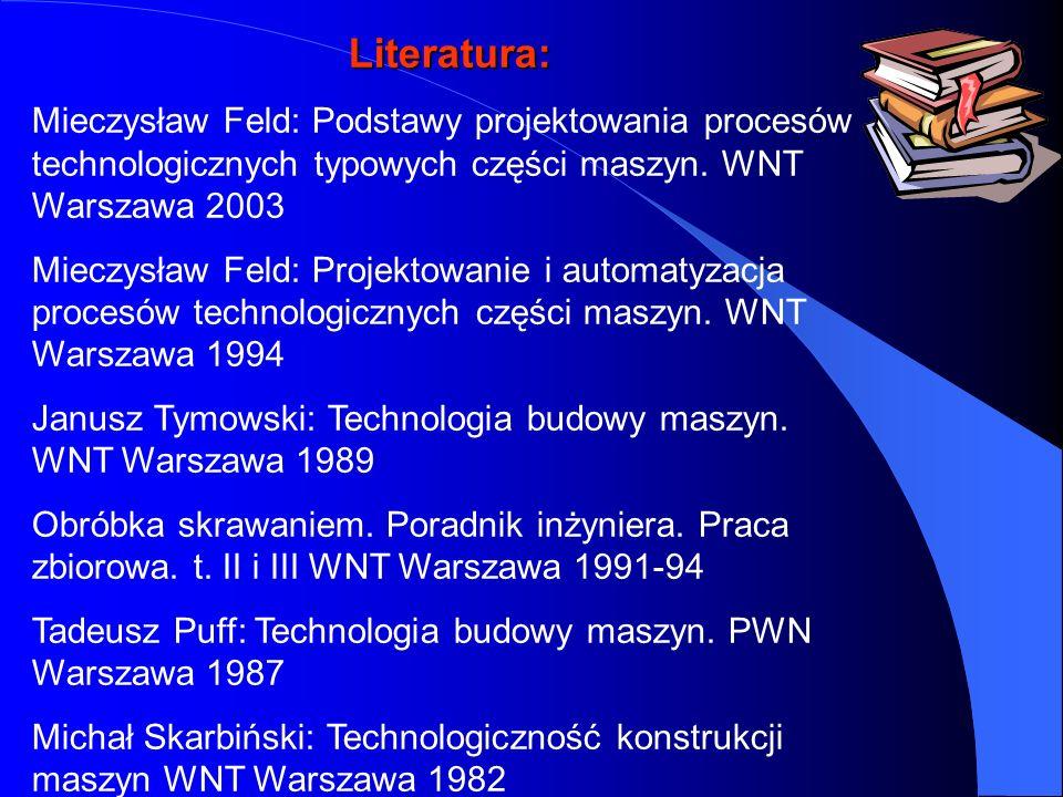 Literatura: Mieczysław Feld: Podstawy projektowania procesów technologicznych typowych części maszyn. WNT Warszawa 2003.