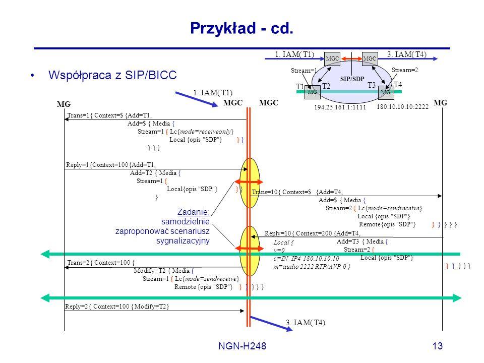Przykład - cd. Współpraca z SIP/BICC NGN-H248 T1 T2 T3 T4 1. IAM( T1)