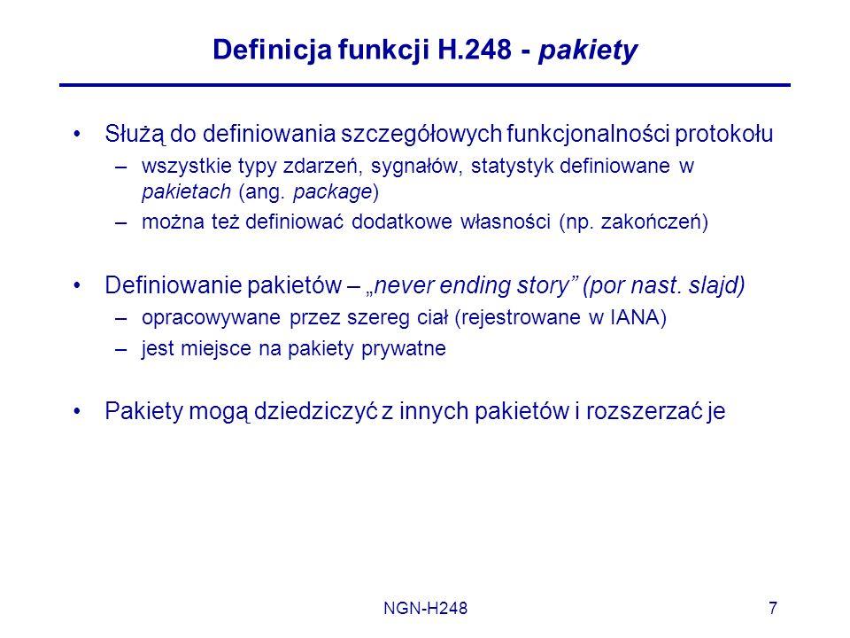 Definicja funkcji H.248 - pakiety