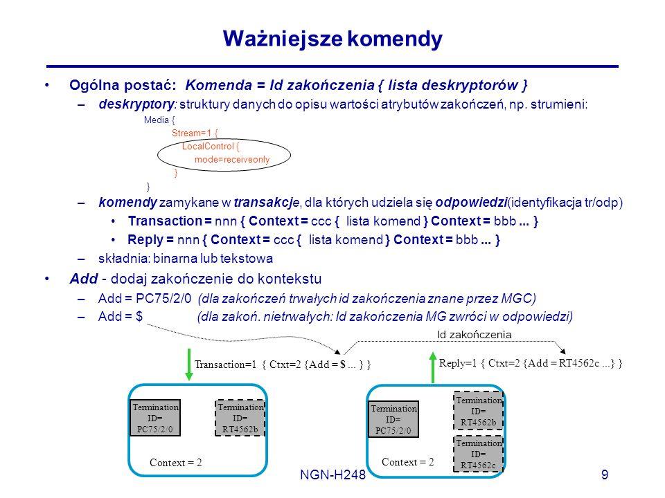 Ważniejsze komendy Ogólna postać: Komenda = Id zakończenia { lista deskryptorów }