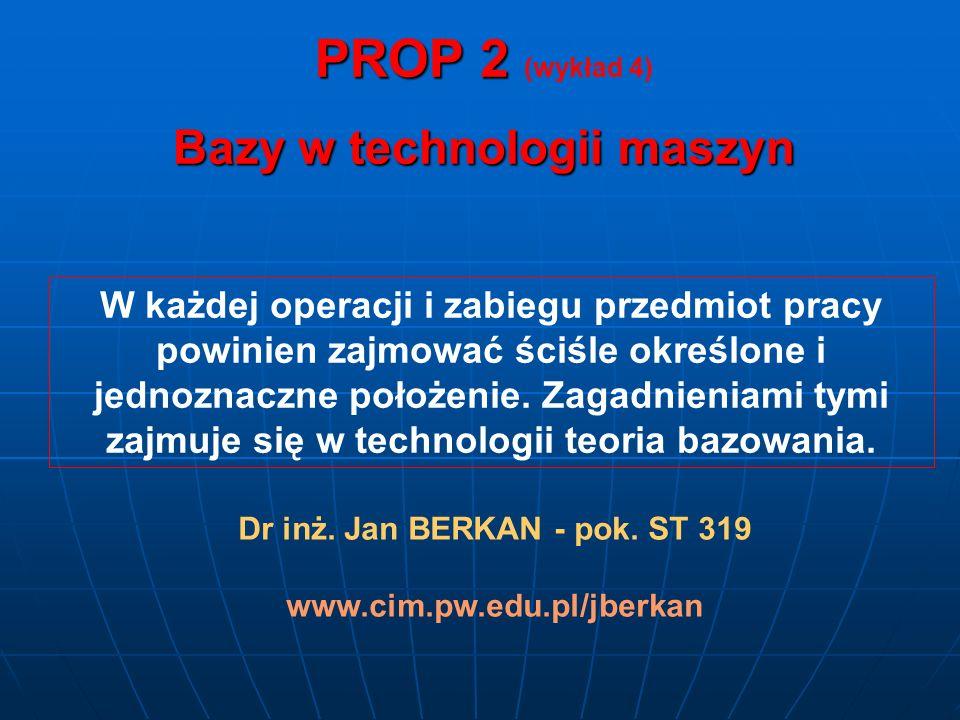 Bazy w technologii maszyn Dr inż. Jan BERKAN - pok. ST 319
