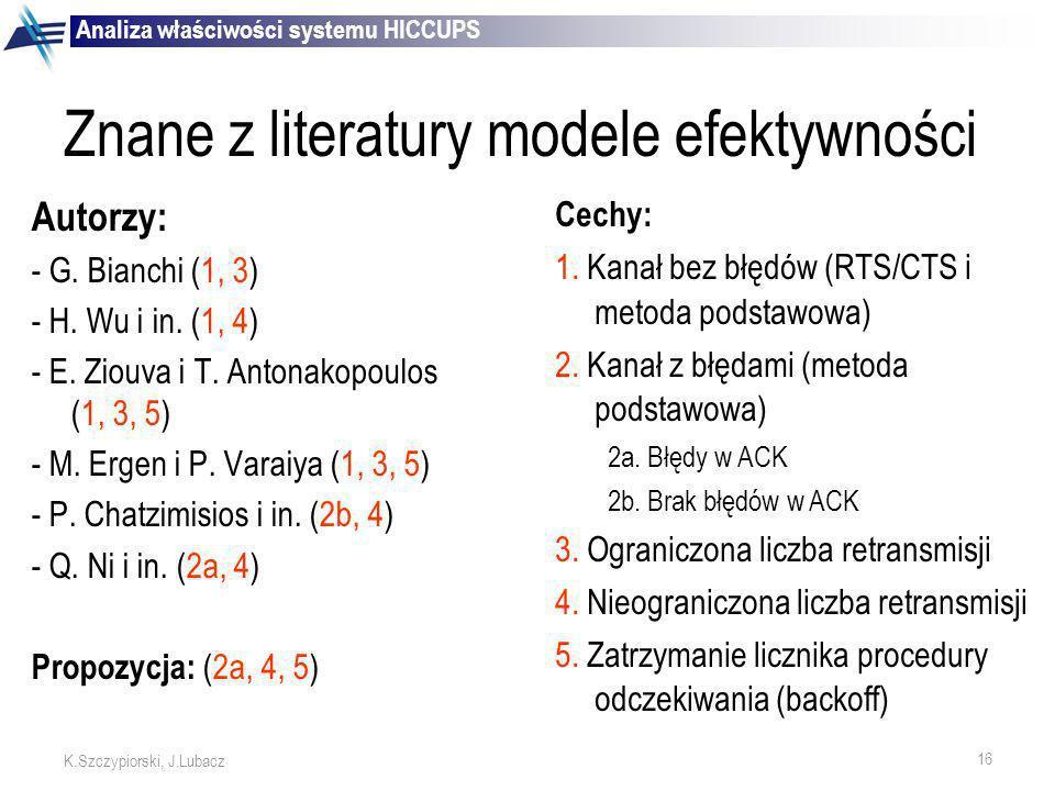 Znane z literatury modele efektywności