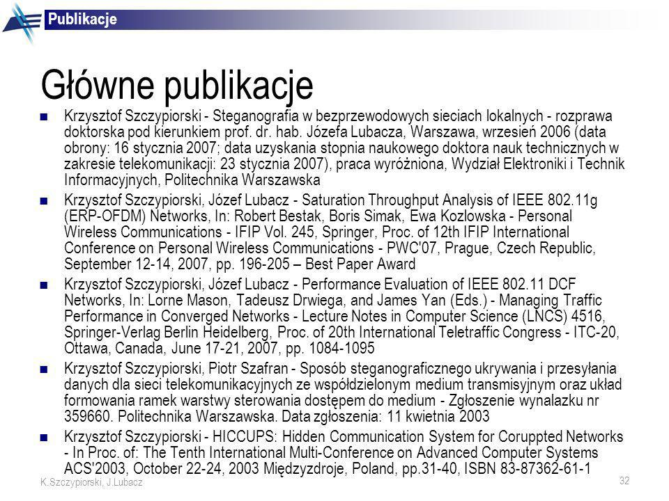 Główne publikacje Publikacje