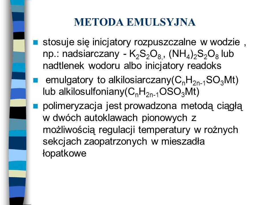 METODA EMULSYJNA stosuje się inicjatory rozpuszczalne w wodzie , np.: nadsiarczany - K2S2O8,, (NH4)2S2O8 lub nadtlenek wodoru albo inicjatory readoks.
