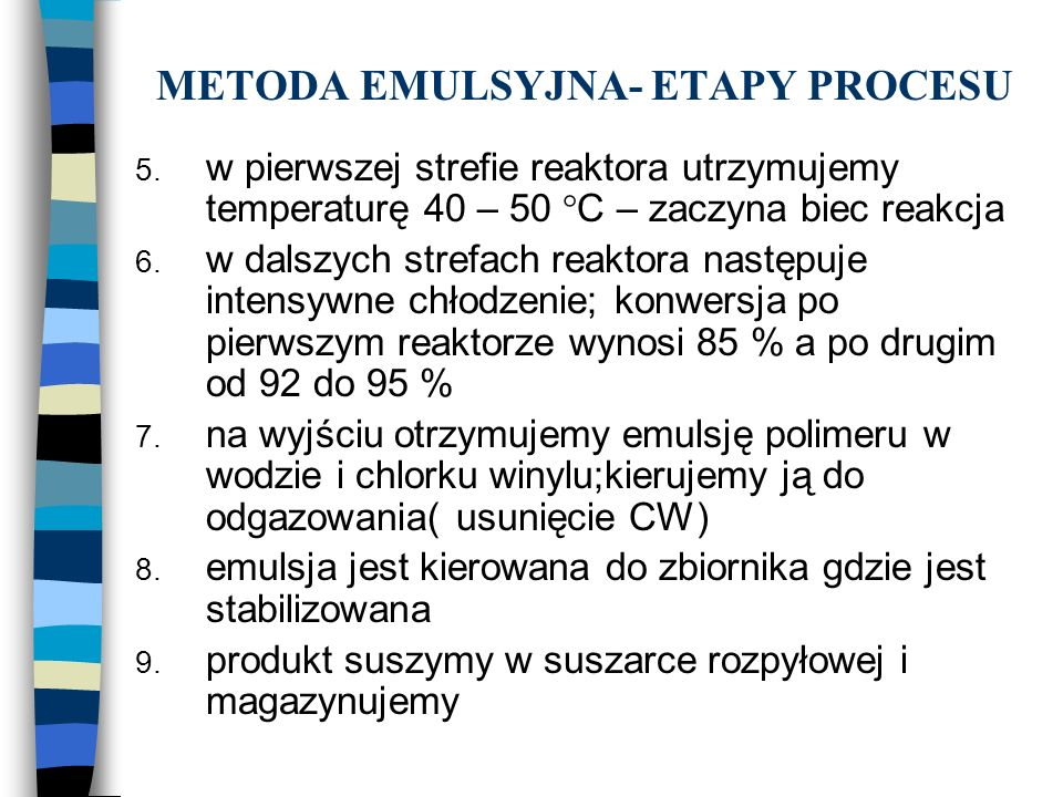 METODA EMULSYJNA- ETAPY PROCESU