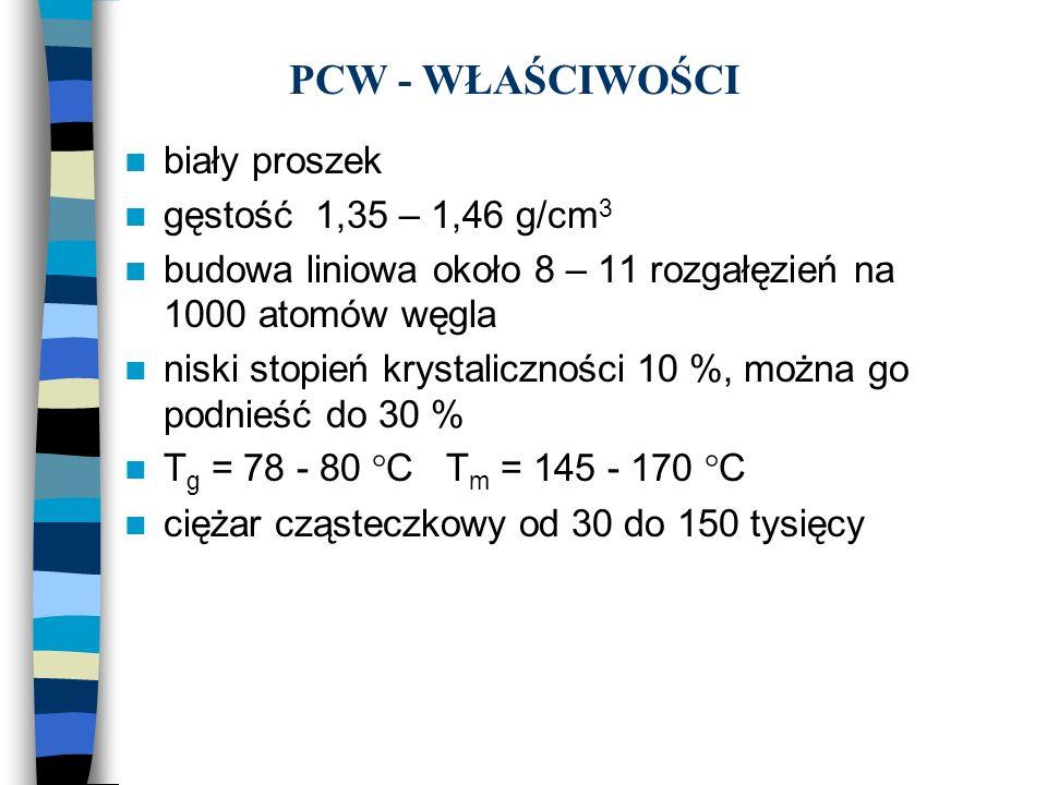 PCW - WŁAŚCIWOŚCI biały proszek gęstość 1,35 – 1,46 g/cm3
