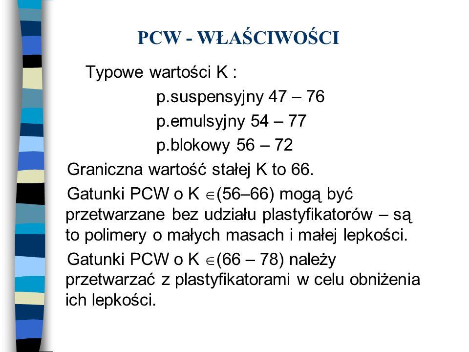 PCW - WŁAŚCIWOŚCI Typowe wartości K : p.suspensyjny 47 – 76