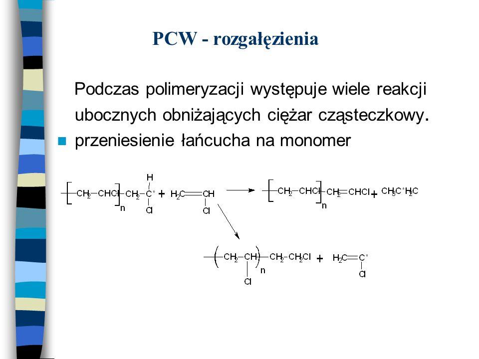 PCW - rozgałęzienia Podczas polimeryzacji występuje wiele reakcji ubocznych obniżających ciężar cząsteczkowy.