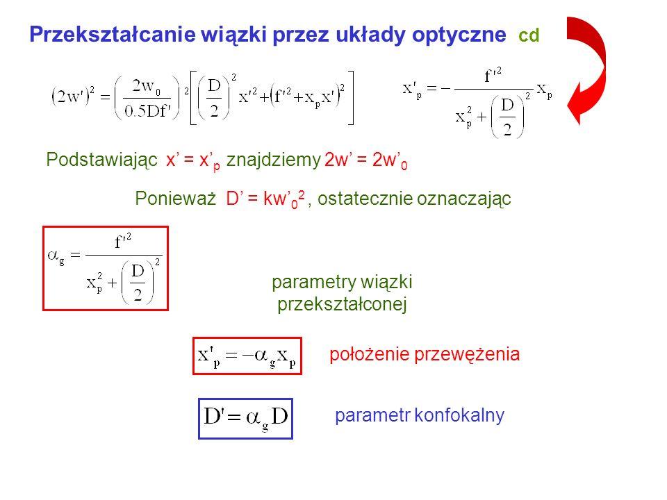parametry wiązki przekształconej