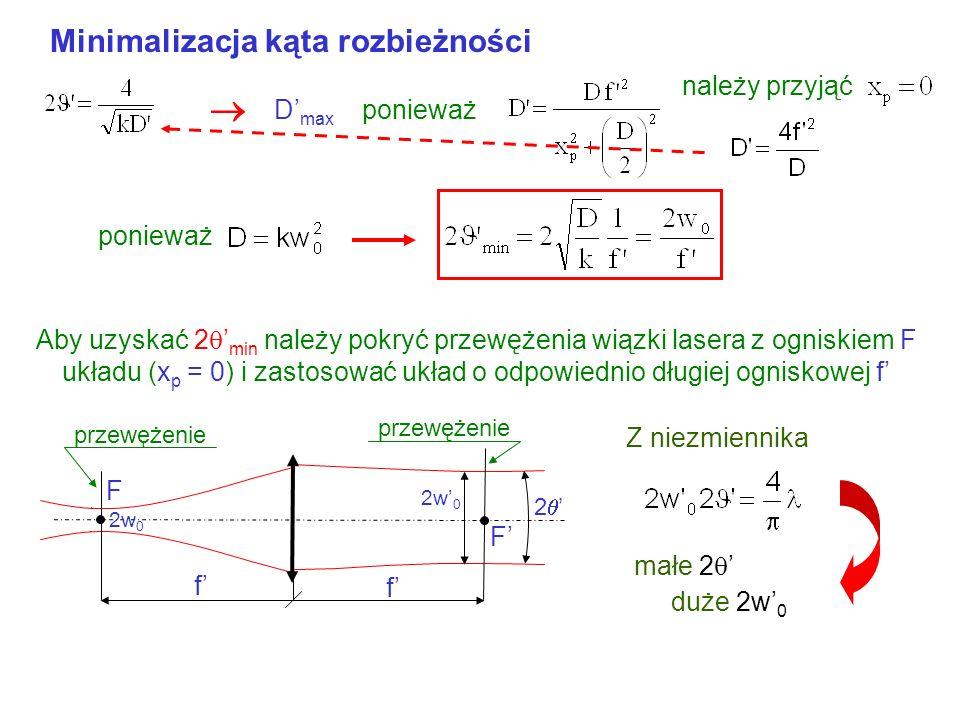  Minimalizacja kąta rozbieżności należy przyjąć D'max ponieważ