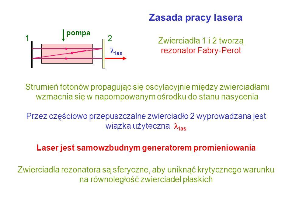 Laser jest samowzbudnym generatorem promieniowania