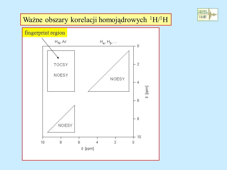 Ważne obszary korelacji homojądrowych 1H/1H